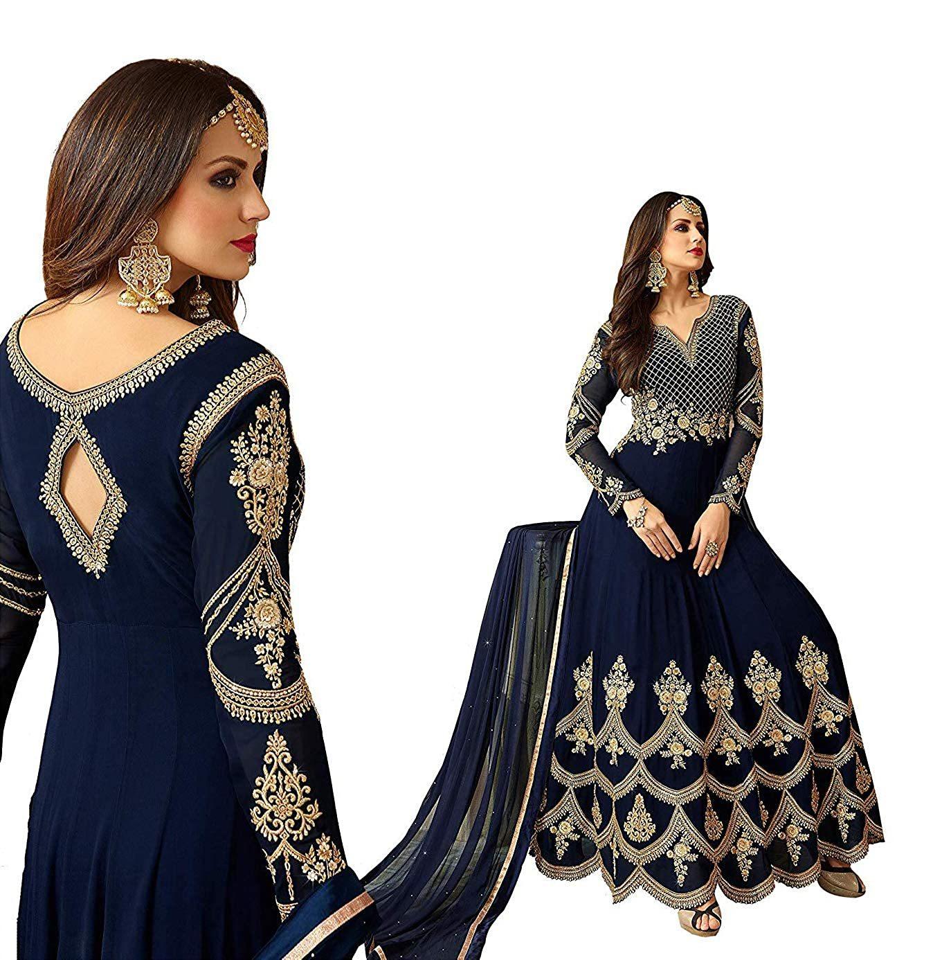 Navy Blue Georgette Embroidery Anarkali Suit