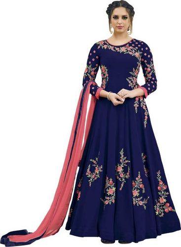 Blue Georgette Embroidery Anarkali Suit