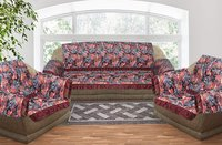 Kirti Finishing Black Jungle Print with Frills 5 Seater Sofa Slip Cover