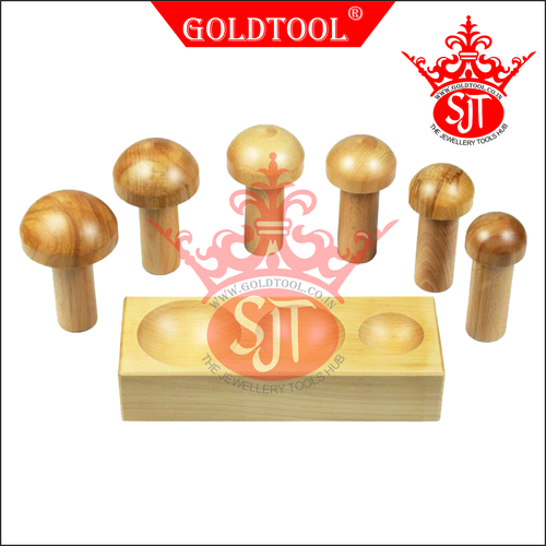 Gold Tool Mushroom Punch With Wooden Block
