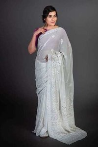 Viscose Chikan Saree