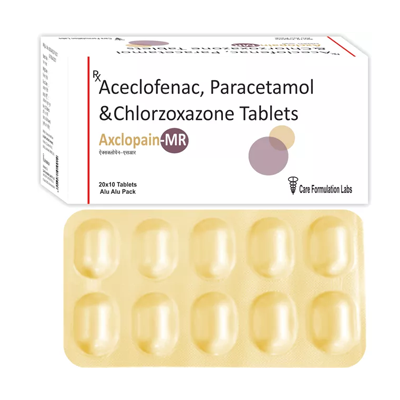Aceclofenac IP 100mg + Paracetamol IP  325mg + Chlorozoxazone IP 250mg/AXCLOPAIN -MR