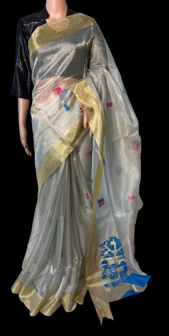 PURE TISSUE TUSSAR SILK HANDLOOM ALL OVER HOUSE FIGURE BOOTA IN SAREE AND PALLU .