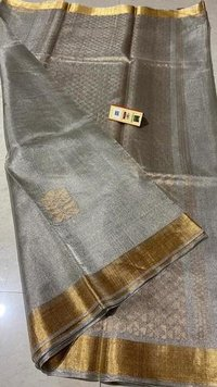 Pure Tissue Tussr Silk Handloom All Over Boota Woven Saree , Jari Woven Pallu