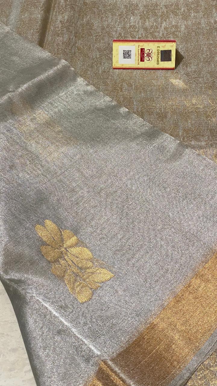 Pure Tissue Tussr Silk Handloom All Over Boota Woven Saree , Jari Woven Pallu