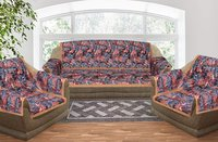 Kirti Finishing Black Jungle Print 5 Seater Sofa Slip Cover