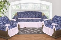 Kirti Finishing Blue Jacquard with Pleats 5 Seater Sofa Slip Cover