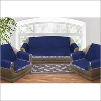 Kirti Finishing Solid Cotton Duck with Printed Border 5 Seater Sofa Slip Cover