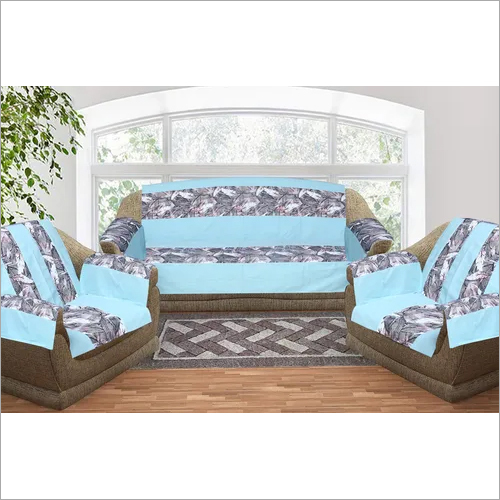 Kirti Finishing Aqua Strip Cotton Duck 5 Seater Sofa Slip Cover