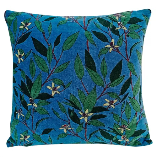 Kirti Finishing Blue Green Leaf Velvet Cushion Cover 16 inches