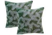 Kirti Finishing Green White Leaf Velvet Cushion Cover 16 inches