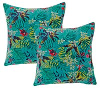 Kirti Finishing Sky Blue Multi Velvet Cushion Cover 16 inches