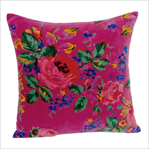 Kirti Finishing Pink Multi Velvet Cushion Cover 16 inches
