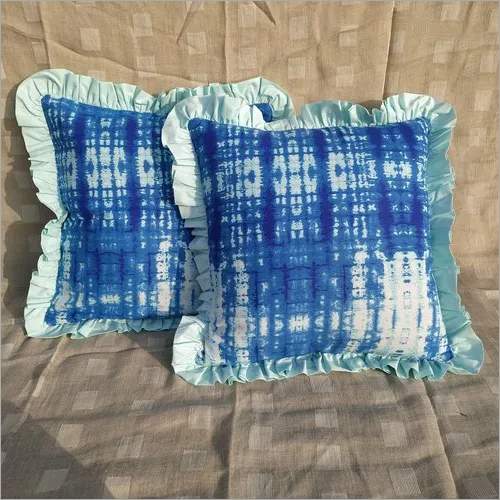 Kirti Finishing Blue Abstract Print Cushion Cover with Frills 18 inches