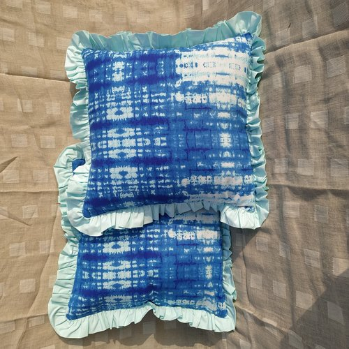 Kirti Finishing Blue Abstract Print Cushion Cover with Frills 20 inches