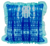 Kirti Finishing Blue Abstract Print Cushion Cover with Frills 24 inches