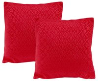 Kirti Finishing Red Jacquard Cushion Cover 18 inches