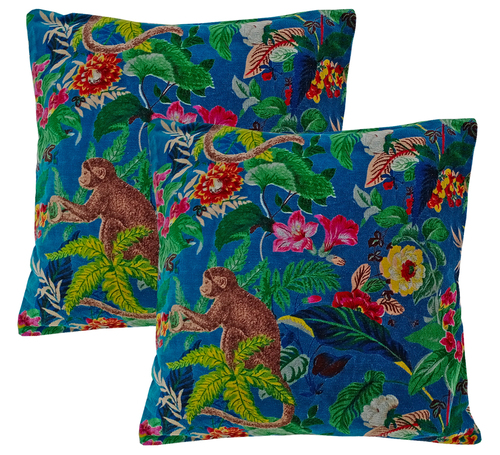 Kirti Finishing  Blue Monkey Print Velvet Cushion Cover 16 inches