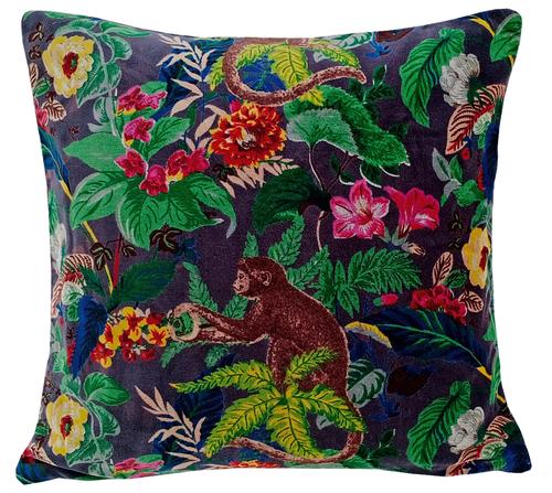 Kirti Finishing  Gray Monkey Print Velvet Cushion Cover 16 inches