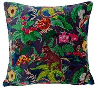 Kirti Finishing  Gray Monkey Print Velvet Cushion Cover 16 inches