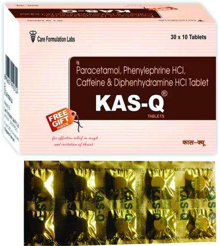 Paracetamol IP 325mg Phenylepherine HCL IP 5mg. Caffeine IP 30mg. Diphenhydramine Hydrochloride IP 25mg.KAS-Q