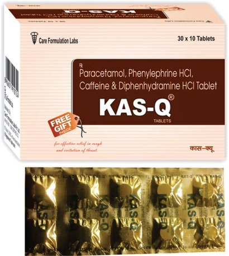 Paracetamol Ip 325Mg Phenylepherine Hcl Ip 5Mg. Caffeine Ip 30Mg. Diphenhydramine Hydrochloride Ip 25Mg.Kas-Q General Medicines