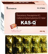 Paracetamol IP 325mg Phenylepherine HCL IP 5mg. Caffeine IP 30mg. Diphenhydramine Hydrochloride IP 25mg.KAS-Q