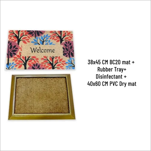 SANI COIR MAT BC20(38X45CM) WITH RUBBER TRAY& .5 LTR DISINFECTANT + 40 X60 CM DRY MAT