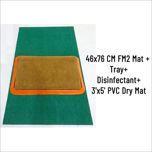 SANI COIR MAT PREMIUM (FM246 X 76 CM) WITH RUBBERTRAY & 1 LTR DISINFECTANT +3 X 5 FEET DRY MAT