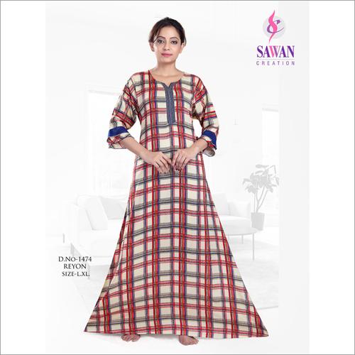 Ladies Rayon Full Length Nightwear