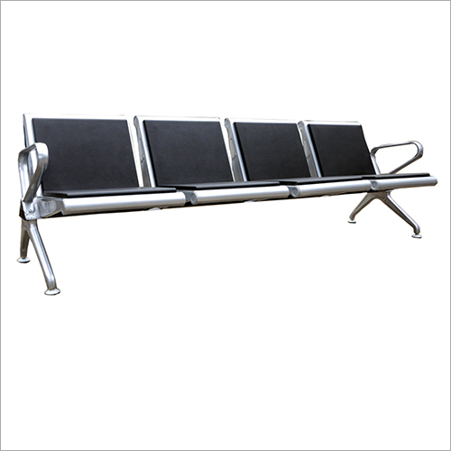 Mild Steel PU Leather  Four Seater Visitor Chair