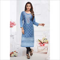 Ladies Fancy Denim Kurtis