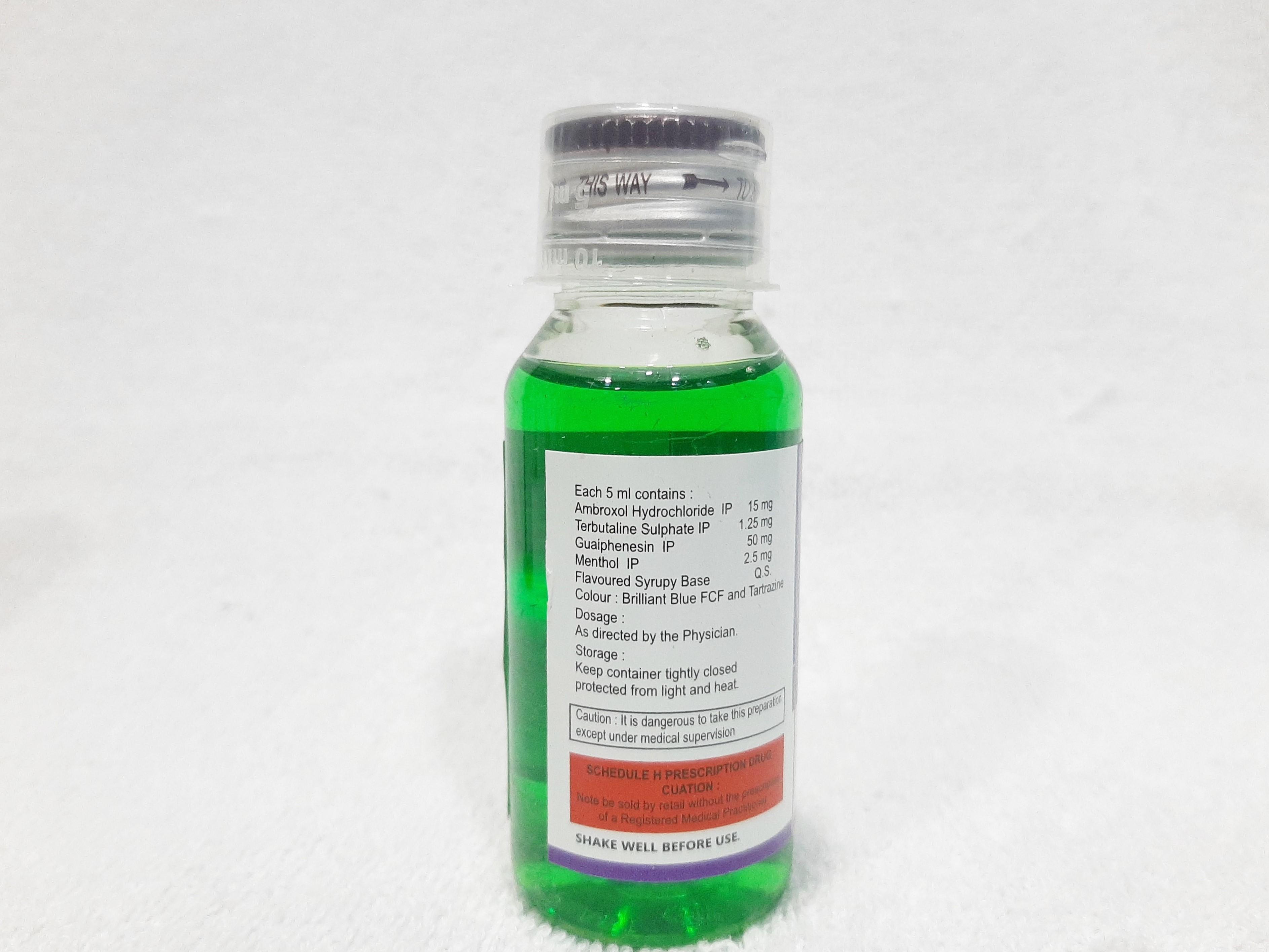 Ambroxol HCL 15mg, Terbutaline Sulphate 1.25mg, Guiphenesin 50mg, Menthol 2.5mg