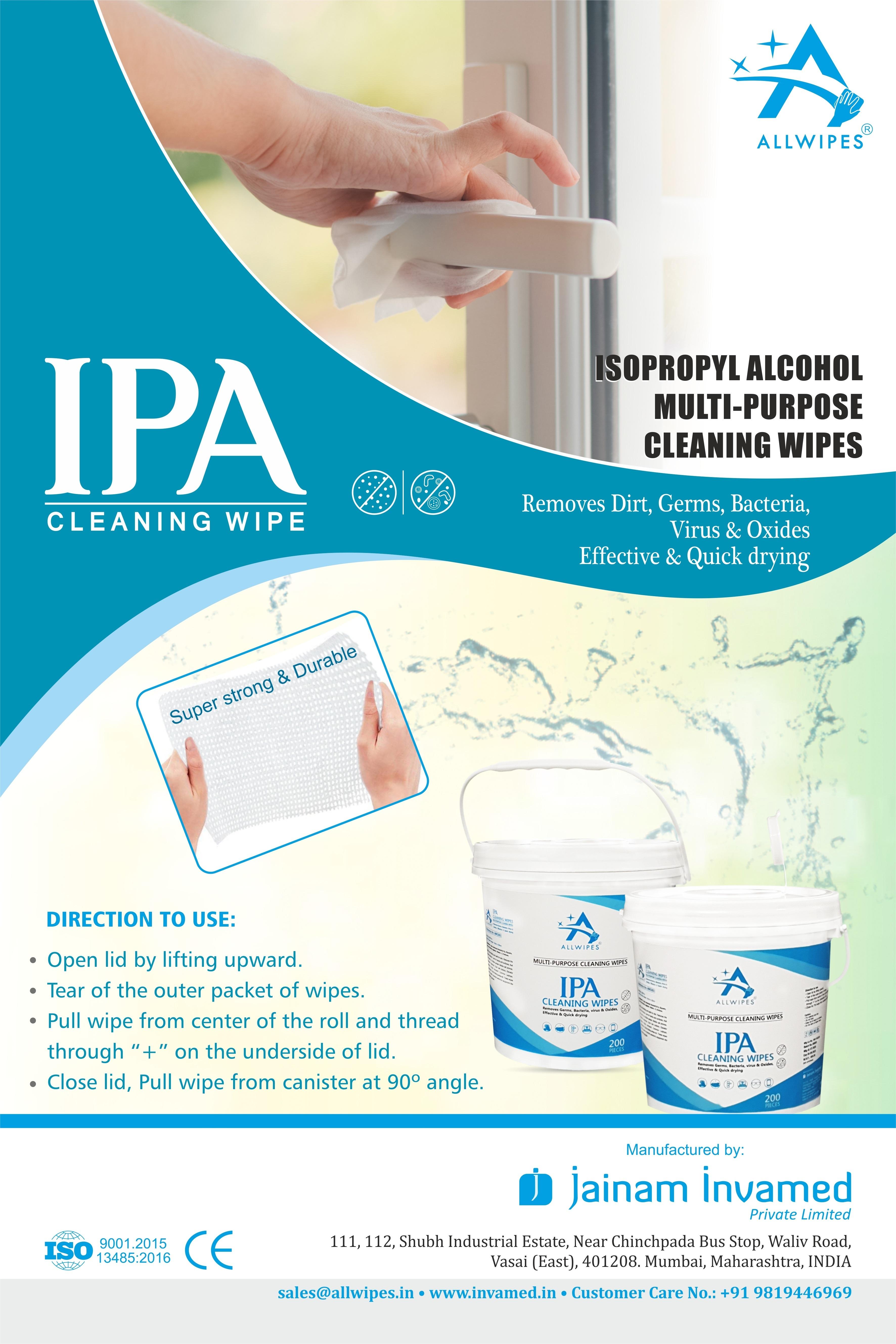 70% Isopropyl Alcohol Sanitizing  Tub Wipes(14 X 20 Cms)