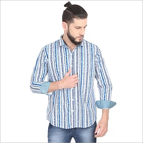 Mens Striped Printed Shirts