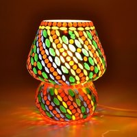 Supershine Handcrafted Crystal Decorated Floral Design Glass Table Lamp (Multicolored) Size: Height :- 17 Cm Dia :- 14