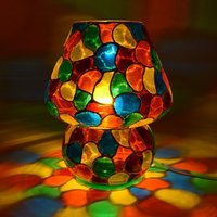 Supershine Multi Color Hand Painted Table Lamp (24 Cm, Multicolor)