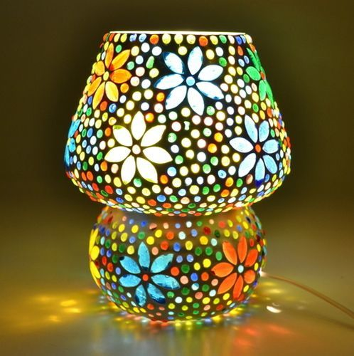 Supershine Mushroom Shaped Glass Flower Design Handicraft With Multicolour