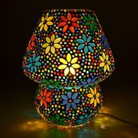 Mosaic Lamp Exclusive Make In India Mushroom Shaped Glass Leafs Design