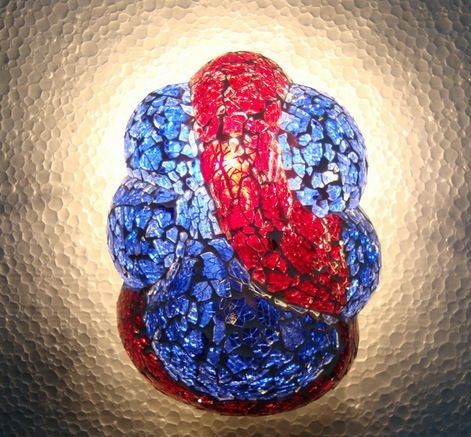 Lord Ganesha Antique Red And Blue Glass Lamps