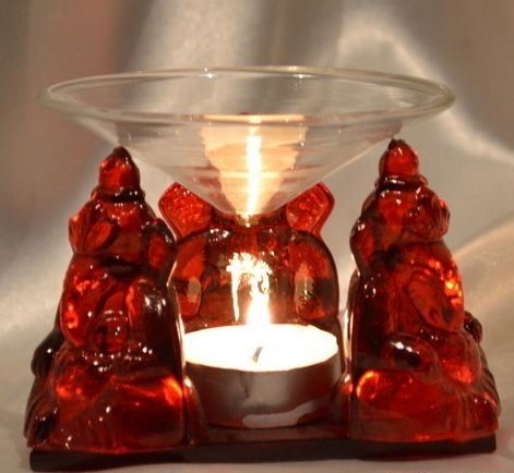 Red Glass Ganesha Idol With T Light Candle