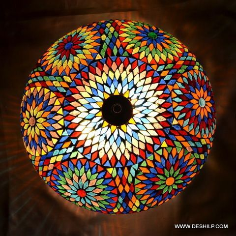 Glass Mosaic Ceiling Light