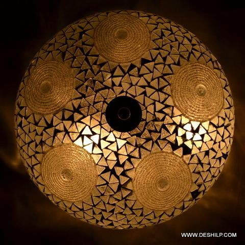 Decorated Glass Wall Ceiling Light