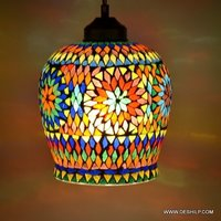 Abode More Multi Color & White Round Mosaic Hanging Lamp