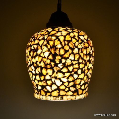 Yellow Handcrafted Egg Shaped Seap Designed Glass Hanging Light