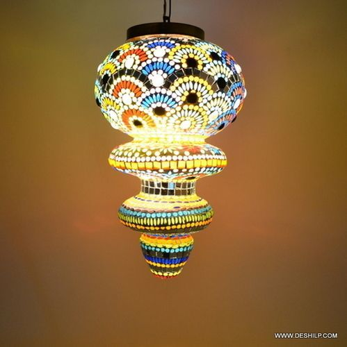 Multicolor Glass Decoration Lamp Diwali Festival Hanging
