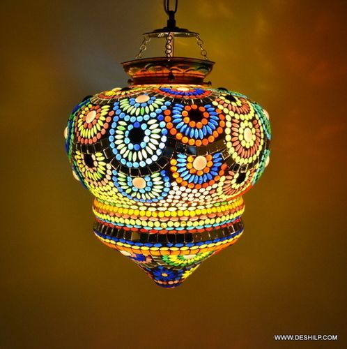 Multicolor Glass Mosaic Hanging Lamp