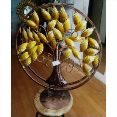 Iron Handicraft Home Decor Tree In Round Circle With Satand