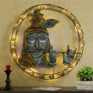 Metal Wall Decor Krishna in Round Circle LED