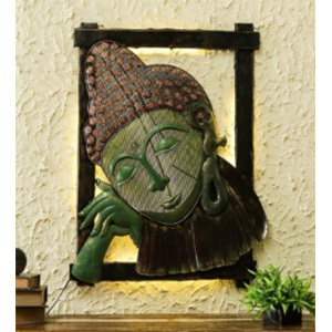 Iron Handicraft Wall Decor Buddha Thinking Led